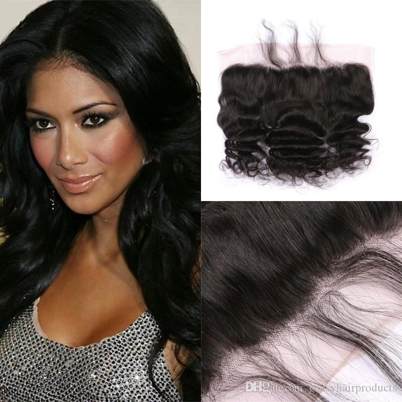 Loose Wave Lace Frontal Malaysian 100% Human Hair Pre Plucked 13x4 ... d82b35194b2d