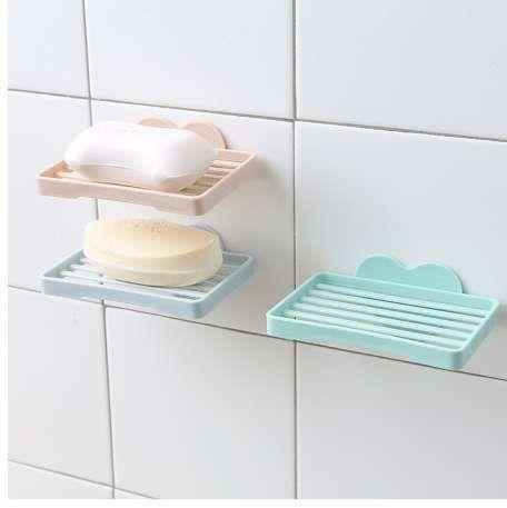 Heart Shape Sucker Soap Dish Bathroom Kitchen Wall Mounted Drain