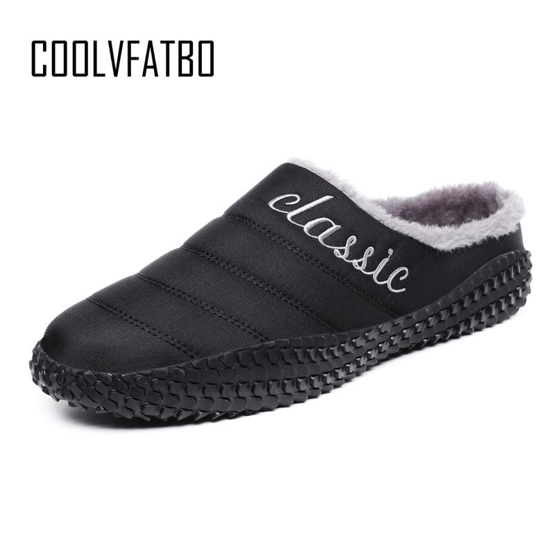 5b5a889b435b COOLVFATBO Winter Men Shoes Plush Men Slippers Fleece Warm Fur Thicken  Cotton Padded Home Slipper Indoor Flat Shoes Big Size 48 Loafers For Women  Clogs For ...
