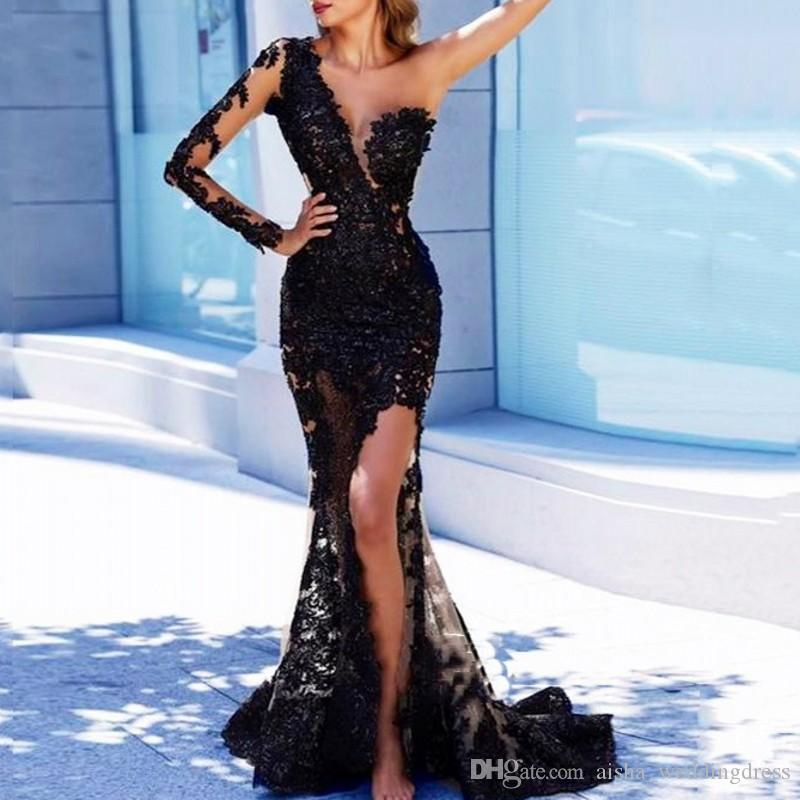 Arabian Mermaid Long Evening Dresses Black Appliqued Full Sleeves Appliques Evening Party Gowns One Shoulder Sexy robe de soiree