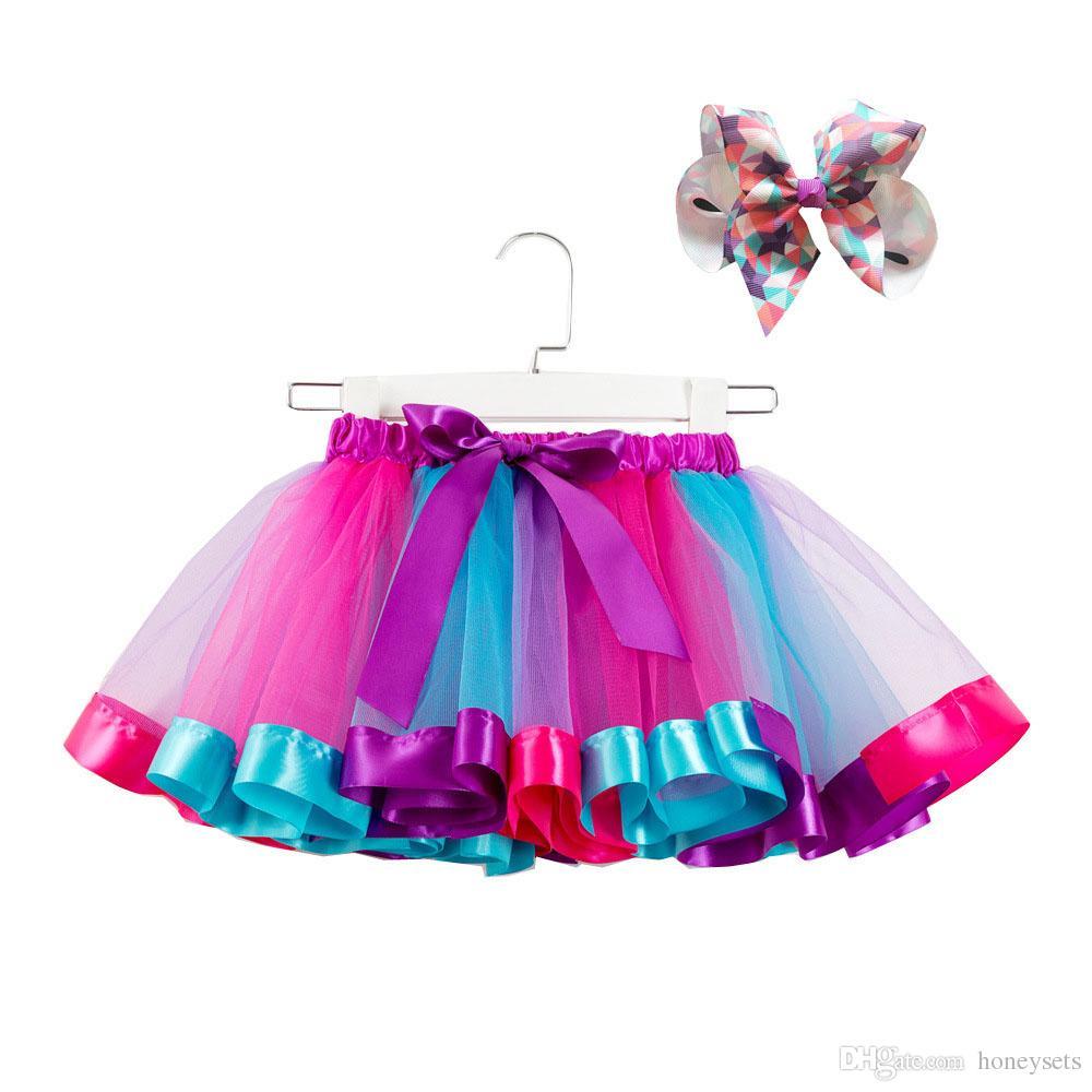 9c9497703077 2019 Children Rainbow Tutu Dresses Kids Newborn Lace Princess Skirts ...
