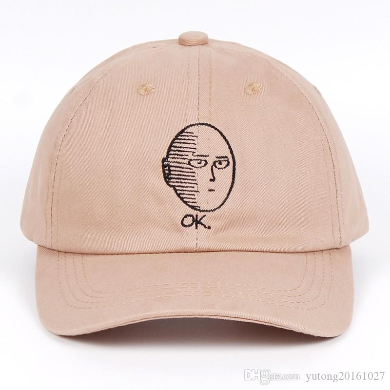e803c11871592 2019 ONE PUNCH MAN Dad Hat 100% Cotton Baseball Cap Anime Fan Embroidery  Funny Hats For Women Men Ok Man One Punch Man Snapback From Yutong20161027