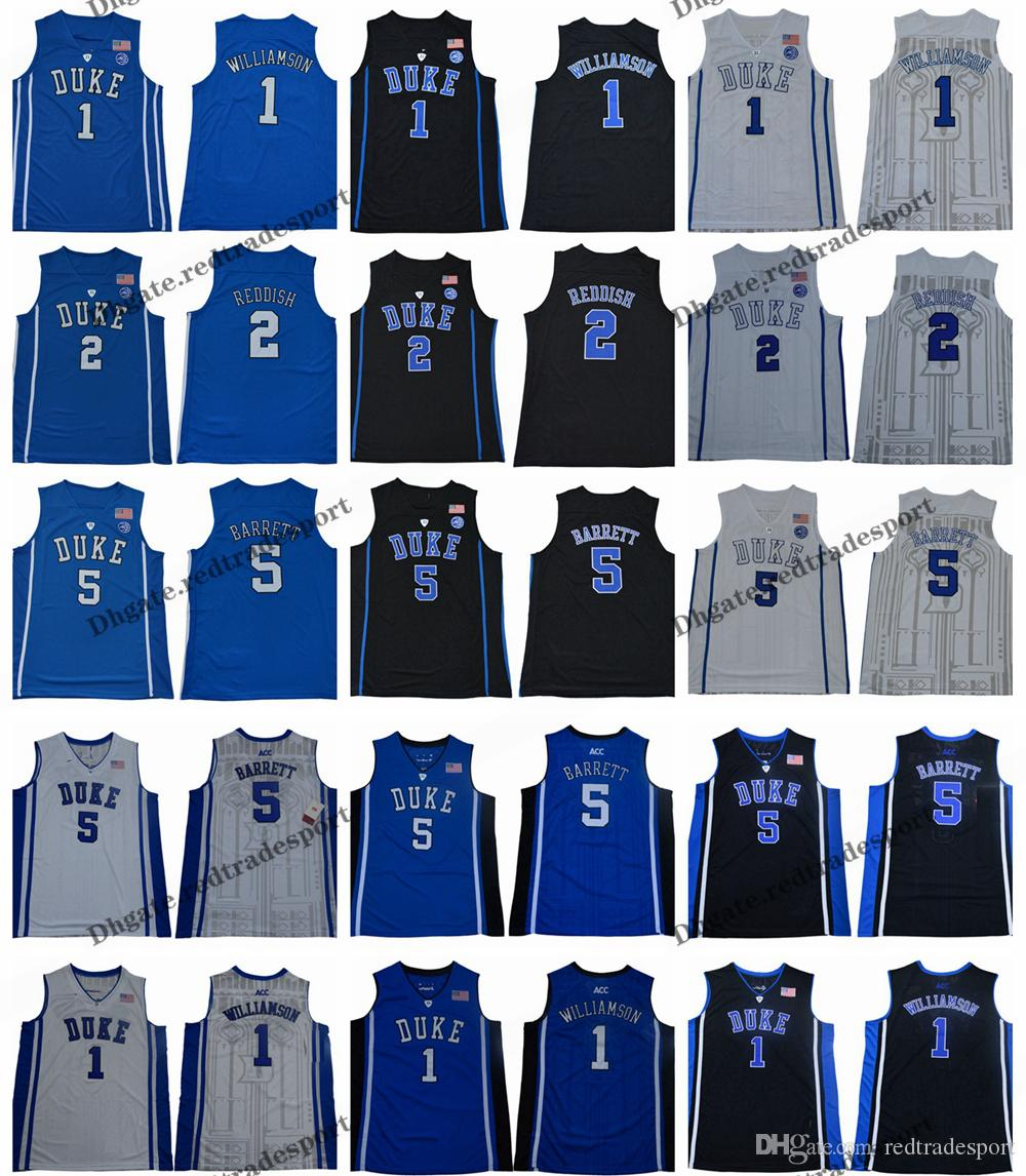 c6d232efaddf 2019 2019 Duke Blue Devils 1 Zion Williamson 2 Cam Reddish 5 R. J. Barrett  RJ Barrett College Basketball Jerseys Cheap Blue Black Shirts From  Redtradesport
