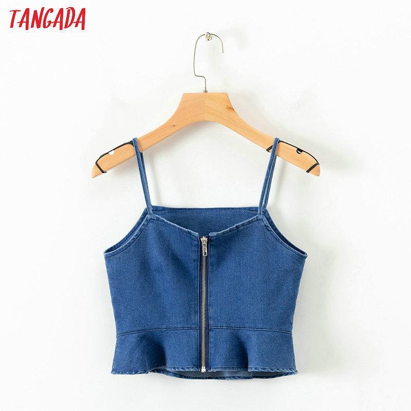 5461ecad3c989 2019 Tangada Women Ruffles Denim Camis Jeans Tops Sexy Spaghetti Strap  Zipper Tunic Camisole Short Tops 2019 Ladies Camis 1D27 From Octavi