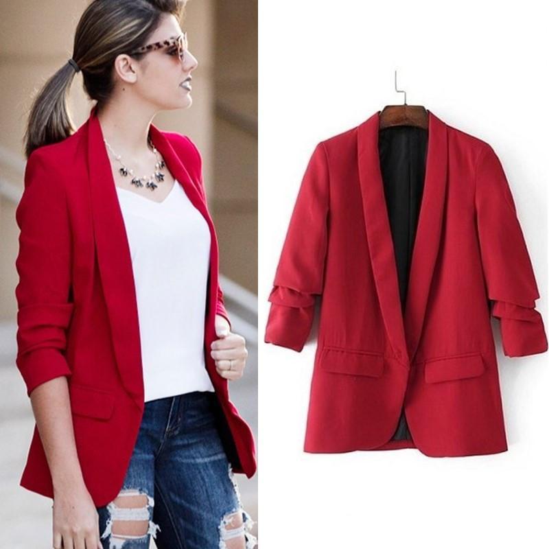 Slim primavera mujer moda Comprar chaqueta de mujer Blazers de sastre n8wk0OPX