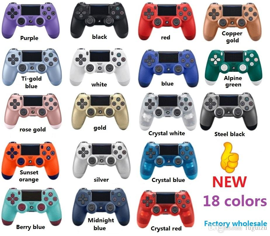 18 Renkler Sony için PS4 Titreşim Joystick Gamepad Kablosuz Game Controller için PS4 Kontrolörü Perakende kutu ile Play Station
