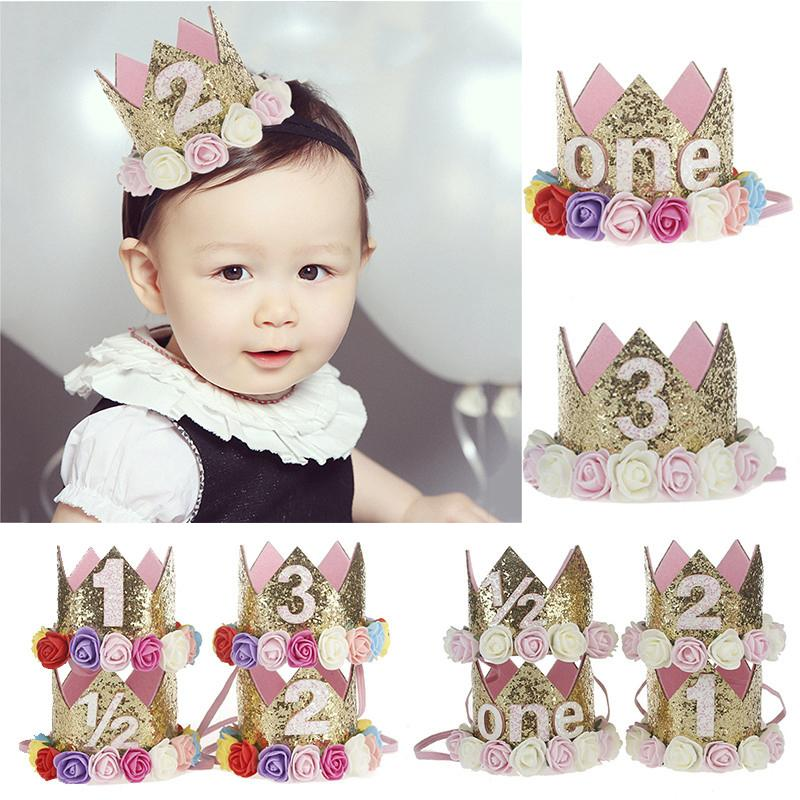 10 Style Baby Flower Digital Type Crown Headband Kids Gifts Baby Birthday Party Performing Headwear Festival Babe Headband