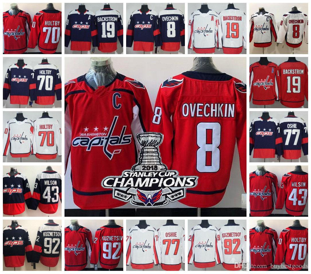 2019 2018 Stanley Cup Washington Capitals Champions Jersey 8 Alex Ovechkin  77 TJ Oshie 92 Evgeny Kuznetsov 70 Braden Holtby 19 Nicklas Backstrom From  ... b3ea24980b8