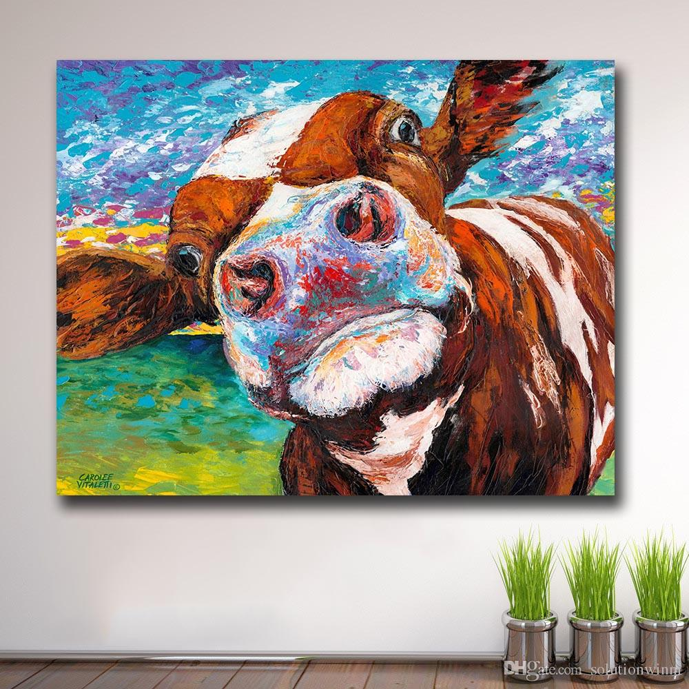 Graffiti art curious cow wall art canvas painting for living room home decor oil painting wall art picture no frame halloween decoration large canvas wall