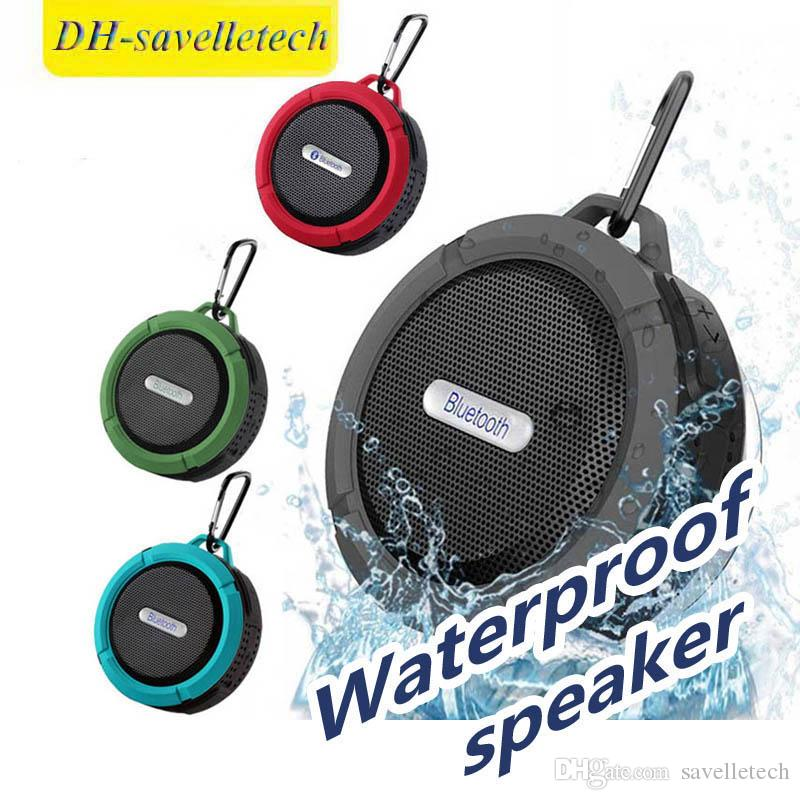 C6 Speaker wireless Bluetooth Speaker Potable Audio Player Waterproof Speaker Hook And Suction Cup Stereo Music Player With Retail Package