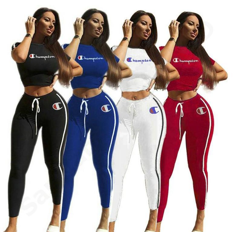 cb32b31dd9f 2019 Women Tracksuit Champion Letter Print Short Sleeve Crop Top T Shirt +  Pants Set Summer Tops Pants Suit Outfit Sportswear Best C3203 From ...