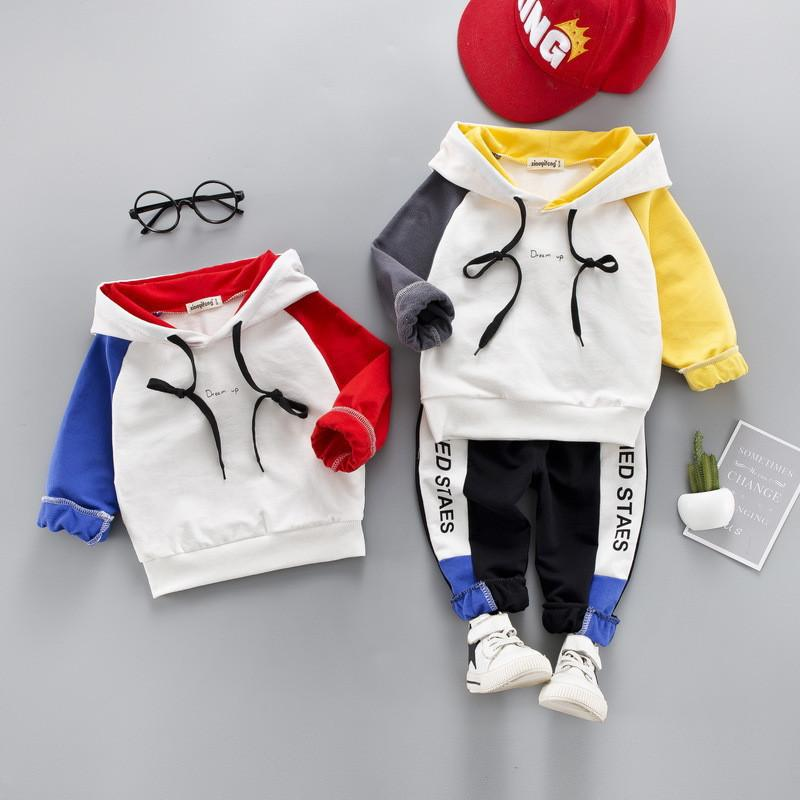 0-4 year High quality boy girl clothing set 2019 new spring active sport patchwork kid suit children baby clothing Hoodies+pant
