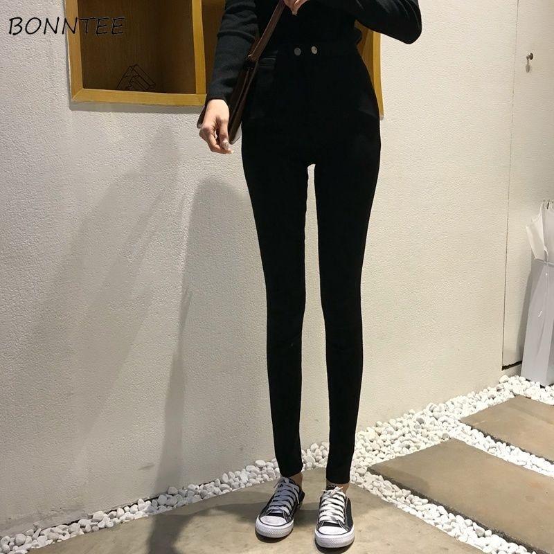86dc744c47569d 2019 Pants Winter Women Full Length Warm Thicker Plus Velvet Skinny ...
