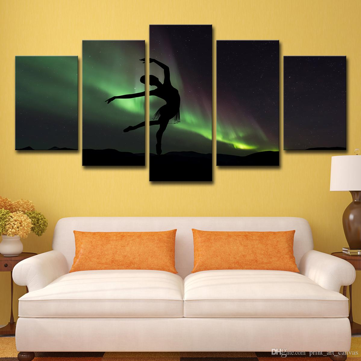 HD Printed 5 Piece Canvas Art Ferocious Beautiful Dancer Dancing In Aurora Wall Pictures for Living Room Free Shipping