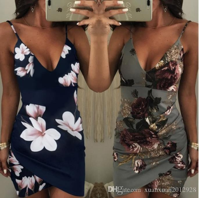 Summer Printed sleeveless V-Neck short women tighting dress dress for women night club sexy evening party dresses ladies