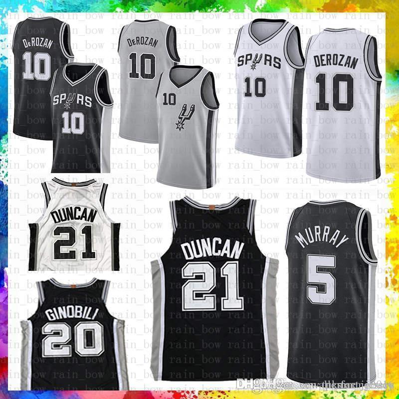 cdf38ef9f68 2019 San Mens Antonio Jersey Spurs Demar 10 DeRozan Manu 20 Ginobili Tim 21  Duncan Dejounte 5 Murray 2019 New Basketball Jerseys From Tukameng2016