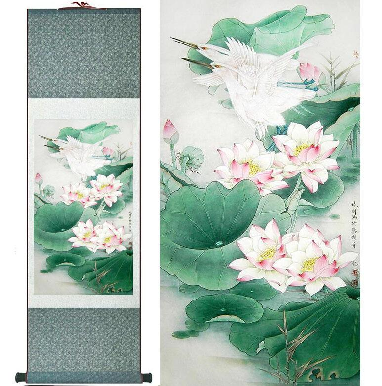 Water Lily Flower Art Painting Home Office Decoration Chinese Scroll Painting Flower Art Painting Chinese Painting2019061439