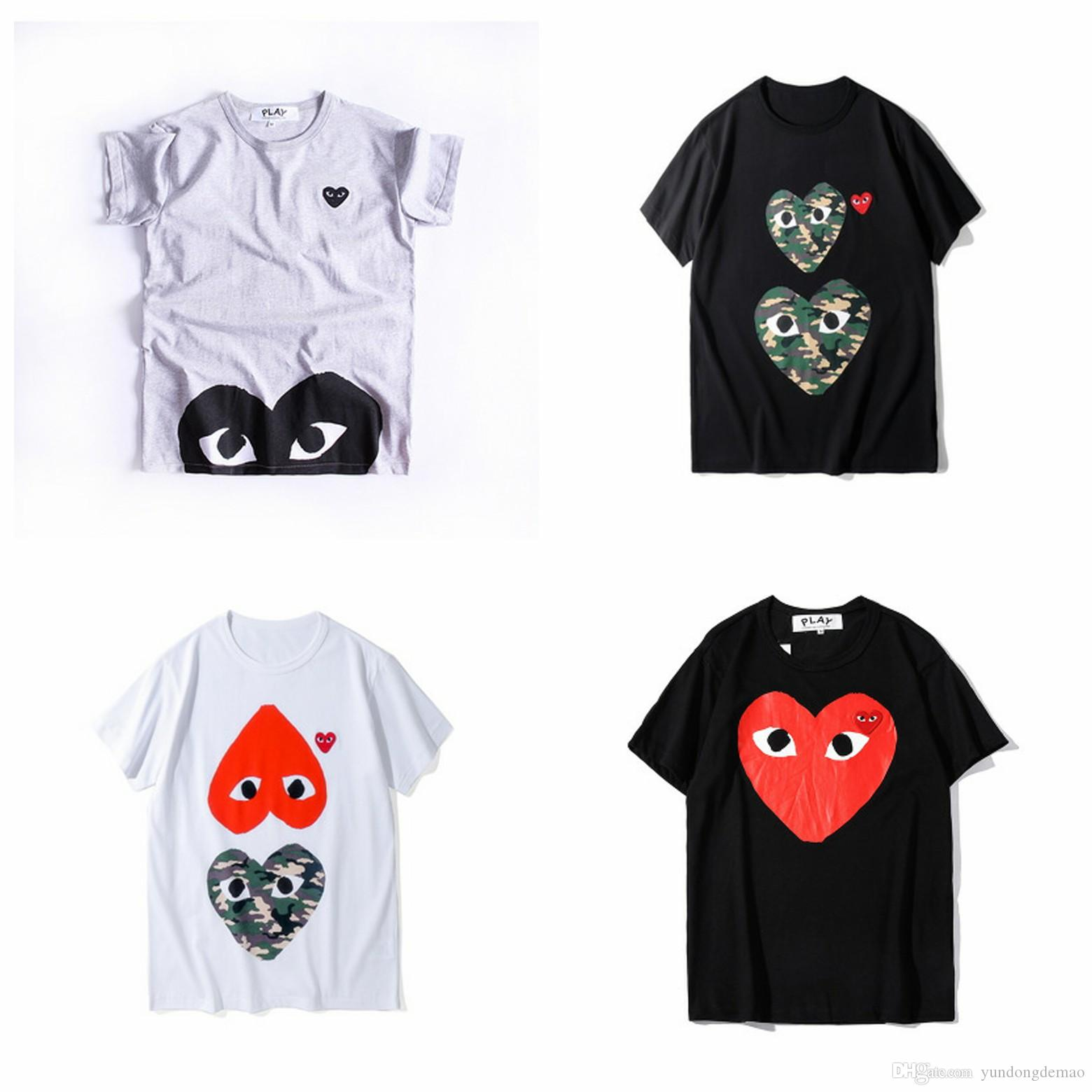 Lover New Arrive COM Best Quality CDG Classic TEE brand new Black Men Play T-shirt White Short Sleeve Tops C005 Men's Japan Brand