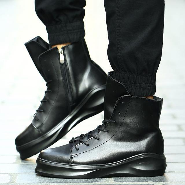 Compre 2019 Hip Hop Moda Primavera Hombres Martin Botas Con Cordones Zapatos  De Vestir Plataforma De Baile Botas Altas Zapatillas De Deporte Superiores  A ... e6d7f8743c9