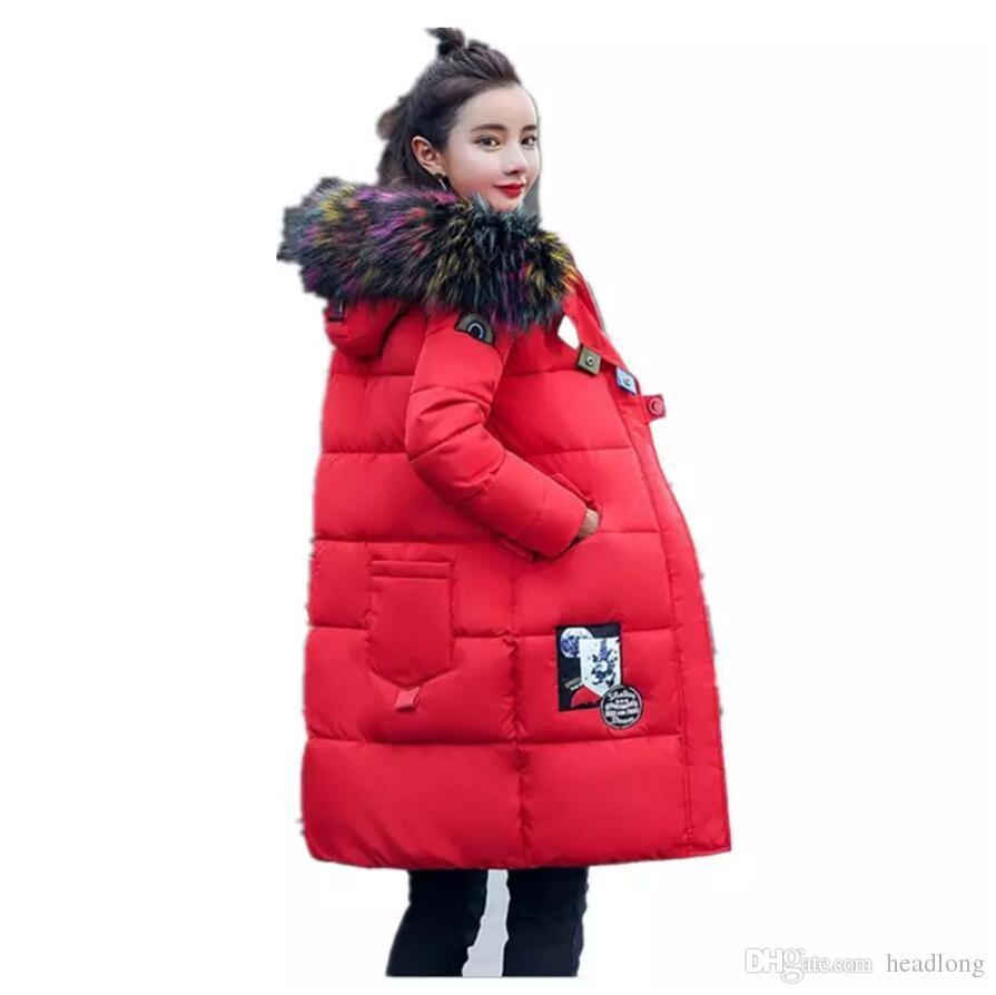 Compre Gran Cuello De Piel Para Mujer Abrigos Moda Ropa De Nieve Abrigo De Invierno  Mujeres Parka Largo Y Grueso Para Mujer Abrigos Y Chaquetas Ropa De ... e26dcac253ec