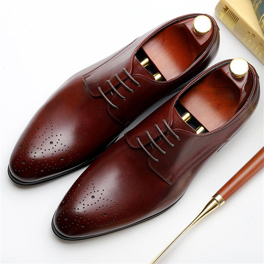 Pottery & Glass Genuine Cow Leather Brogue Business Wedding Shoes Men Casual Flats Shoes Vintage Handmade Sneaker Oxford Shoes For Men Black Red
