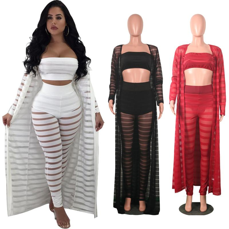 c1924fcff4 Women Three Piece Outfits Night Club Fashion Sexy Bodycon Lace Hollow Plus  Size See Through Cloak Tube Top Leggings Set New C3274 Canada 2019 From  Baby sky