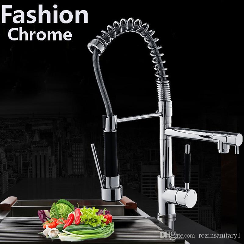 2018 Modern Chrome Brass Spring Kitchen Faucet Swivel Spout Sink