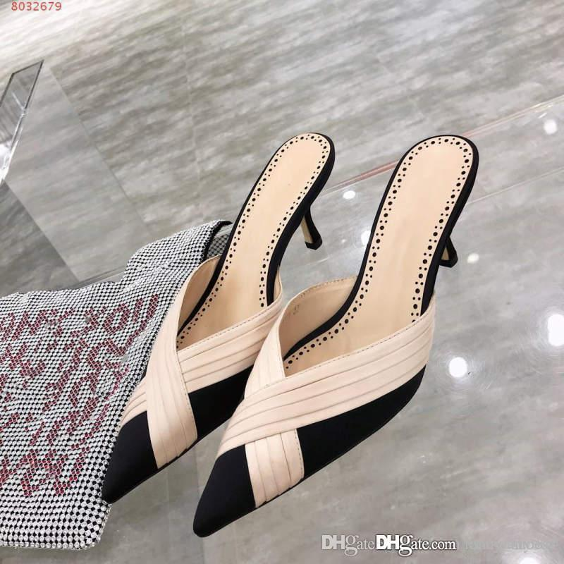 Female outside wearing slippers New toe cap Cross ribbon face decorative stripes Black and white, with a height of 6.5cm