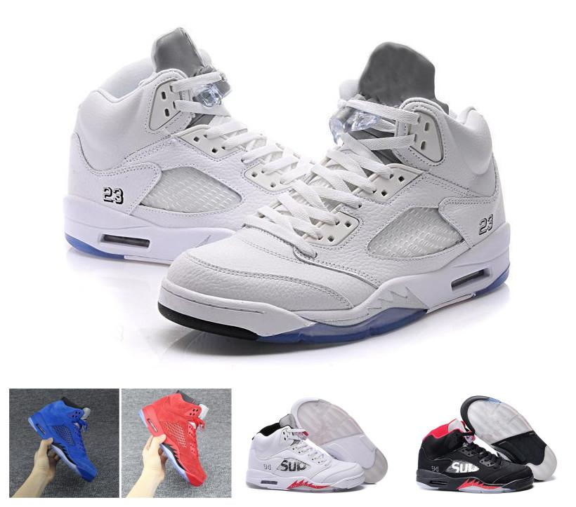 5f5f09ca21cc64 2019 2018 Mens Retro Basketball Shoes 5 5s V Olympic Metallic Gold White  Cement Air Man OG Black Metallic Red Blue Suede Sport Sneakers Size 7 12  From ...