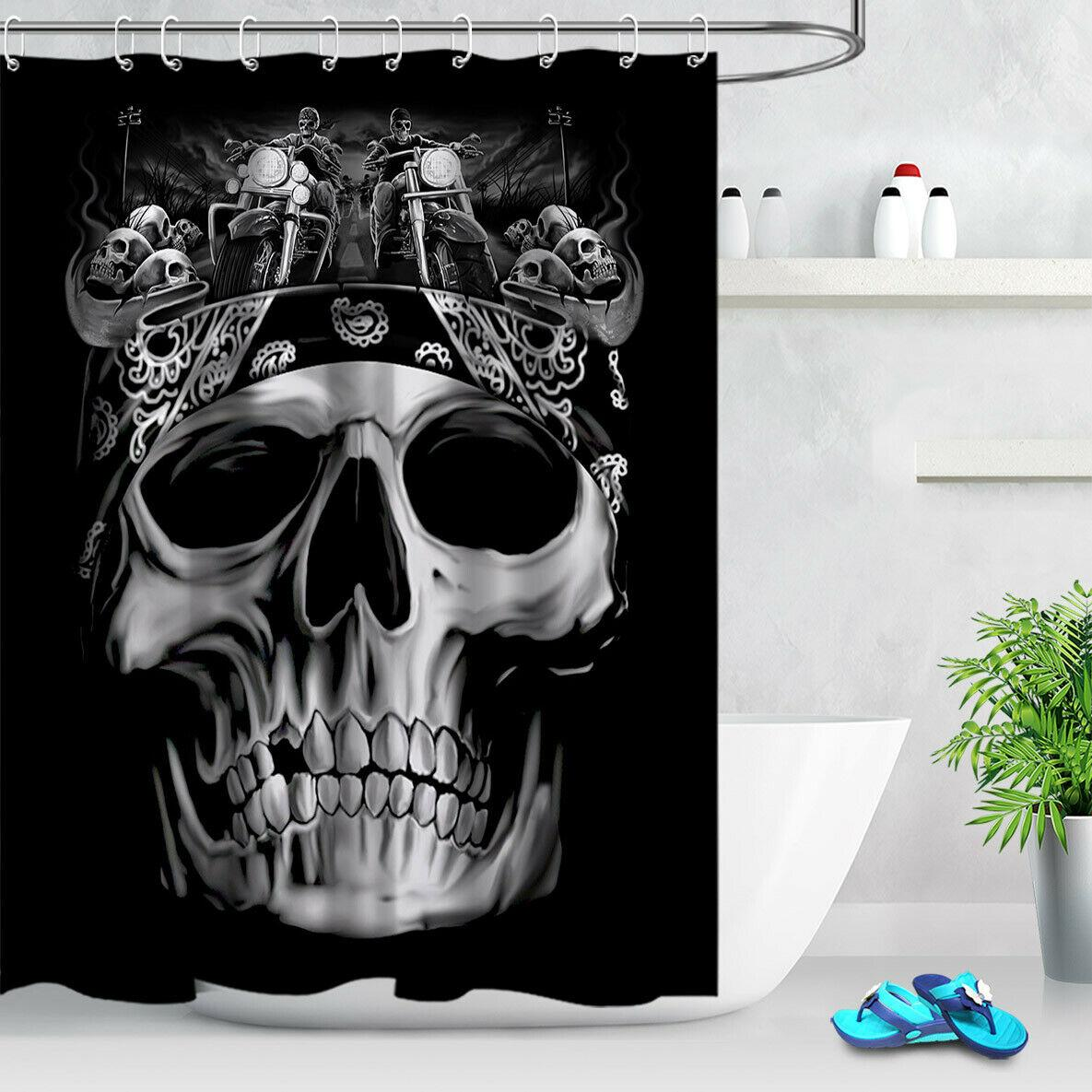 Halloween Skull Motorcycle Rider Bathroom Shower Curtain Durable Fabric Mold Proof Bathroom Pendant Creative with 12 Hooks 180X180CM
