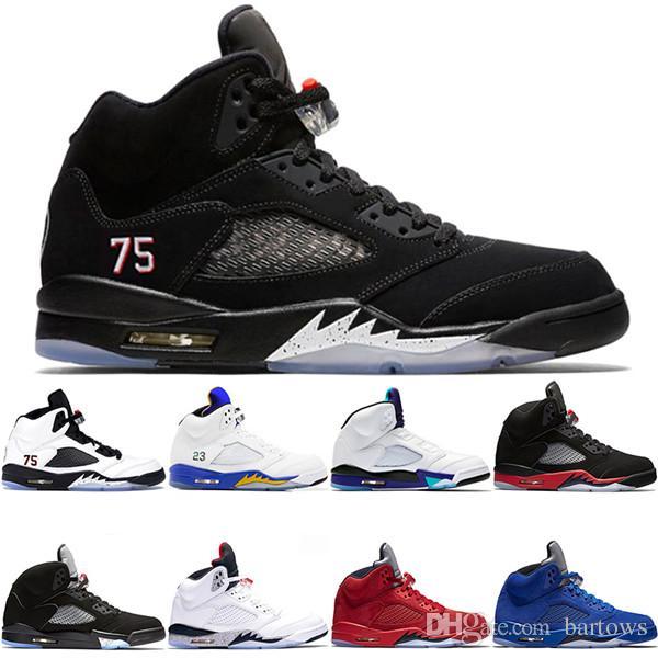 8675778d7 2019 Men 5 5s Casual Shoes Bred Fresh Prince Laney OG Metallic Black White  Cement For Mens Sport Designer Sneaker Trainer Size 8 13 Indoor Soccer Shoes  ...
