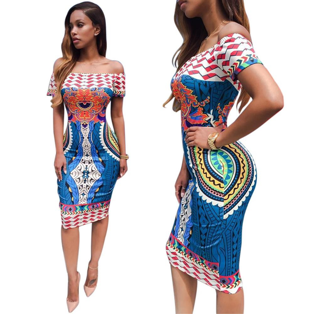 edf847a6a247 New Fashion Summer Women African Printed Sexy Short Sleeve Off Shoulder  Casual Bodycon Dress Size S XL Buy Party Dresses Green Dresses For Juniors  From ...