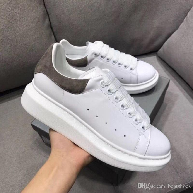 Top Designer Chaussures GREY Shine Plateforme Chaussures Hommes Baskets En Cuir Blanc Plat Casual Chaussures De Mariage De Partie Suede Sports Sneakers Nous 11