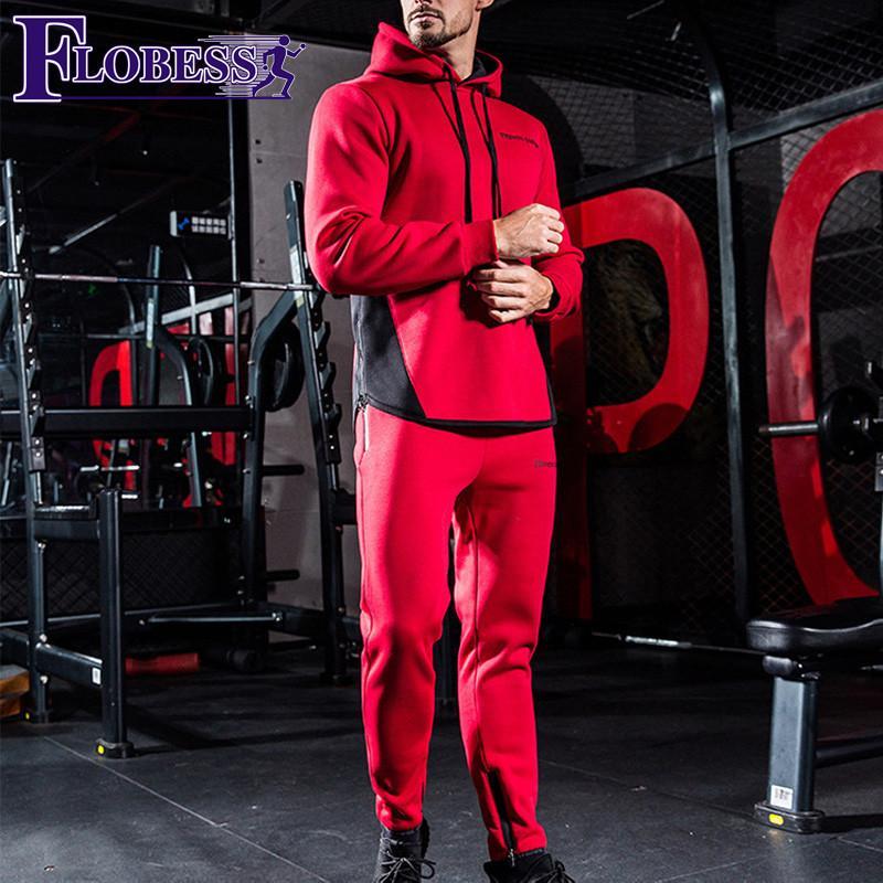 2018 Autumn Winter Letter Print Tracksuit Men Sports Hooded Keep warm Plus  Velvet Male Fitness Suit Man Workout 2 Piece Set