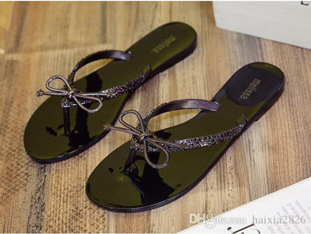 New style women's bow sandals flip flops non-slip flat with beach flip-flop slippers Flash sequins shoes