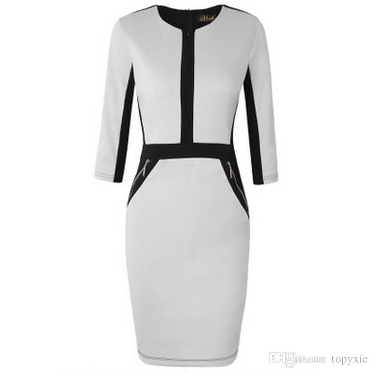 Fashion Plus Size Front Zipper Women Work Wear Elegant Stretch Dress Charming Bodycon Pencil Midi Spring Business Casual Dresses