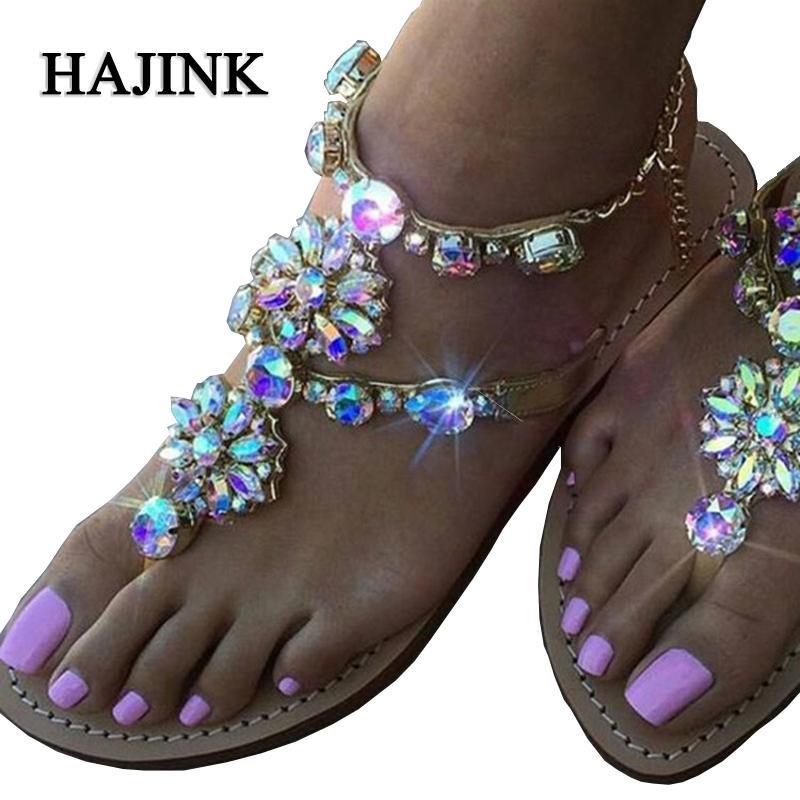 e9c3d44e8f Compre 2019 Moda Mujer Sandalias Zapatos De Mujer Diamantes De Imitación  Pisos Romanos Sandalias Gladiador Plana Verano Más Tamaño A $56.95 Del  Beasy111 ...