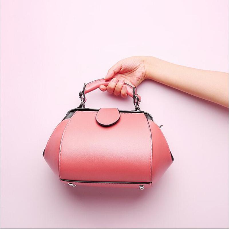 6245dd615c9a 2019 Fashion 2018 Luxury 100% Real Leather Designer Handbags Brand Cowhide  Genuine Leather Women Shoulder Pink Female Messenger Bag 146 Ladies Purse  Leather ...