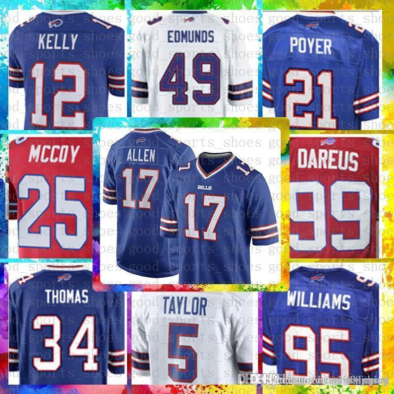 Buffalo Top Bills 17 Josh Allen 49 Tremaine Edmunds Jersey 12 Jim Kelly 25 LeSean  McCoy 95 Williams 34 Thurman Thomas 99 Dareus 27 White Hockey Jerseys St.  ... 6a7230ac5