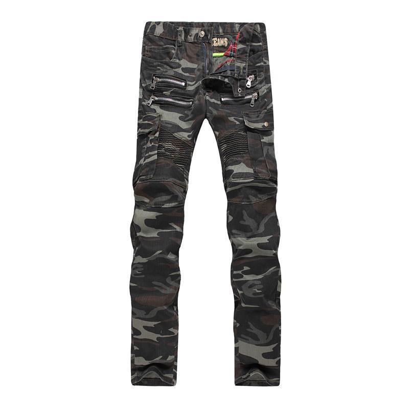 181a8dd8aa Compre Estilo Americano Europeo Niza Para Hombre Jeans Marca De Lujo  Pantalones De Mezclilla Pantalones Vaqueros Verdes Camuflaje Pantalones  Lápiz Delgado ...