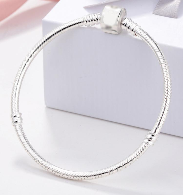 Sent Certificate! 100% 925 Solid Silver Charm Bracelets for Women Long 16-23cm Snake Bone Bracelets Wedding Jewelry KPL005