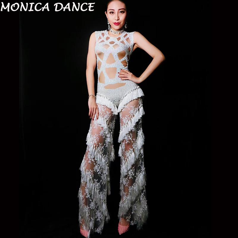 30d6cd806eb8 2019 Women Sexy Stage Lace Rhinestones Tassel Jumpsuit Stage Rompers  Leggings Dj Costume Stretch Bodysuit Nightclub Wedding Outfit From  Vanilla06, ...