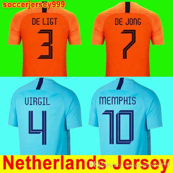 e20441bef7dcb ... Football Shirt Camisa De Futebol Da Holanda DE JONG Camisa De Futebol  Da Holanda DE LIGT VAN DIJK VIRGIL STROOTMAN MEMPHIS PROMES Camisola Kit  Uniformes ...