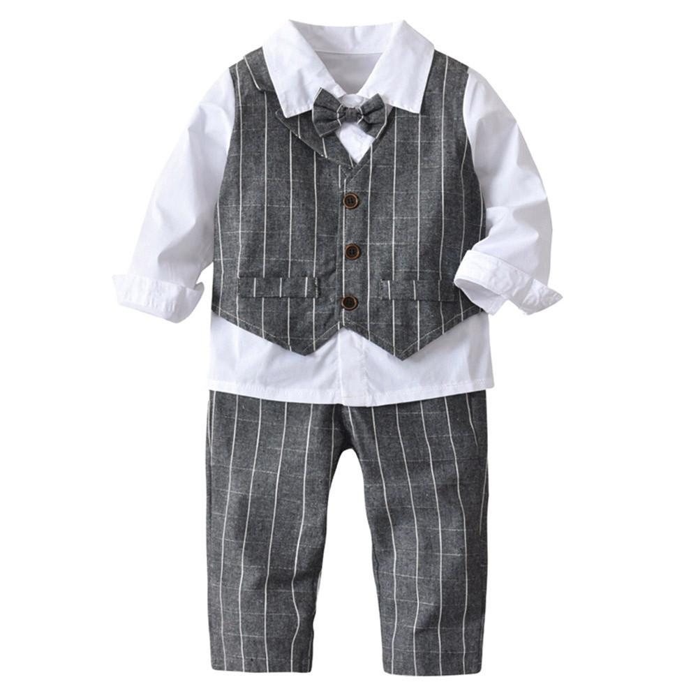 0c7f13cf5 2019 Good Quality Kids Clothes Boys Baby Boy Bowtie Gentleman Vest T Shirt  Pants Wedding Suit Cloth Sets Conjunto Menino Roupas From Usefully12