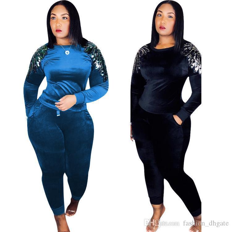 Autumn Winter Outfits Velvet Two Piece Set Women Sweatsuit Sequin Tops+Pant  Suit Matching Velour Tracksuit Clothings Tops Sweatshirts Online with   22.0 Set ... dec436d65bfb