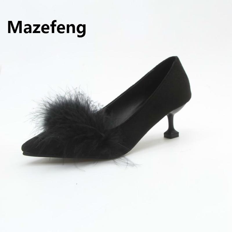 On Habillées De Hauts Talon Pointu Faux À Slip Été Chaussures Style Pompes Chaton Mature Mazefeng Simple Bout Femmes Talons EHIDW29