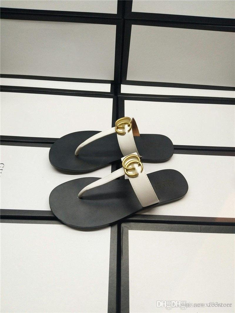 b7b926484e Gold Marmont DoubleG NEW Leather Thong Sandals Shoes Sandal Slippers Shoes  Flip flops With Box