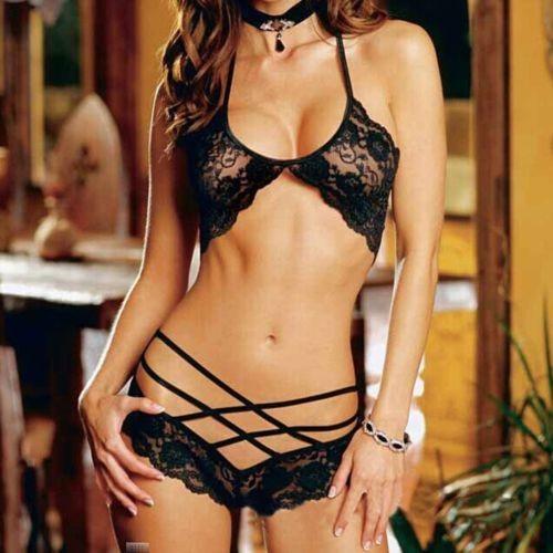 Promocional New Sexy Mulheres Lace Lingerie Nightwear Underwear Senhora Sleepwear Babydoll Bra G Cordas Set