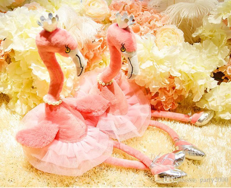 Electric Plush Flamingo Toys Crown Pearl Necklace Dancing Shoes Designer Plush 3D PP Cotton Stuffed Music Flashing Battery Baby Girls Gift