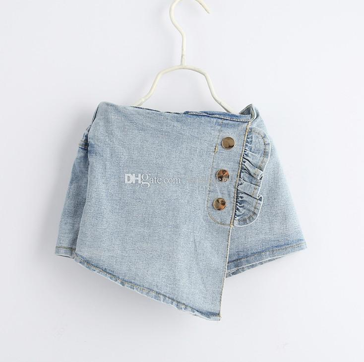 Fashion kids hot jean shorts summer girls ruffle three buckle elastic denim shorts children double pocket irregular cowboy short pants F5407
